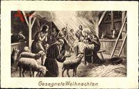 Frohe Weihnachten, Bibelszene, Jesuskind, Krippe, Schafe