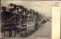 Suez Ägypten, Palmiers au bord du Nil, Flusspartie mit Fischerbooten