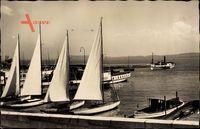 Neuchâtel Neuenburg Stadt, Le port, Segelboote im Hafen liegend