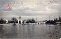 Liège, Weltausstellung 1905, Vue générale, Blick vom Wasser auf das Tor