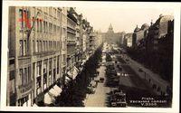 Prag Tschechien, Vaclavske namesti, Straßenpartie, Gebäude, Autos