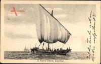 Sansibar Tansania, Dhow, Schiff, Einheimische, Meer, Segel
