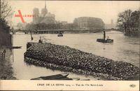 Paris, Crue de la Seine 1924, vue de lIle Saint Louis, Hochwasser