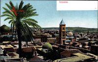 Jerusalem Israel, Blick auf den Ort, Palme, Minarett, Moschee