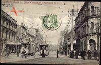 Auckland Neuseeland, Queen street, View from Custom Street, Straßenbahnen