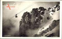 Blick auf die Zugspitzbahn, Gebirge, Schnee, Luftseilbahn
