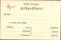 Feldpostkarte, An den, an Bord S. M. Schiff, Ostasiat. Regiment