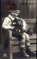 Grüß Gott, Kleiner Junge in Lederhosen, Bayern, Dackel, Amag 63501 2