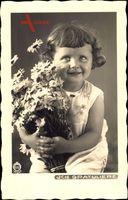 Glückwunsch, Kind mit Blumenstrauß, Mädchen, Hahn 9741