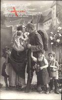 Landwehrlied, Soldat verabschiedet sich von der Familie, Kinder, Frau