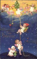 Frohe Weihnachten, Engel, Tannenbaum, Sternenhimmel, Meissner Buch