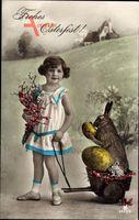 Glückwunsch Ostern, Osterhase, Ostereier, Mädchen mit Blumen, RPH 4935 6