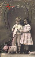 Glückwunsch Neujahr, Kinder mit Schweinen, Hufeisen, RKL 4438 4