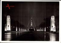Berlin Tiergarten, Ost West Achse, Siegessäule, Festschmuck, Nacht