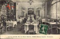 Paris, Hotel Gallia, 63 rue Pierre Charron, Restaurant, Innenansicht