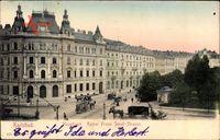 Karlovy Vary Karlsbad Stadt, Kaiser Franz Josef Straße mit Hauptpost