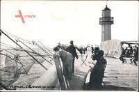 Ostende Westflandern Belgien, LEstacade, les Pecheurs, Leuchtturm, Angler