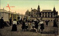 Ostende Westflandern Belgien, Vue sur la Plage, Umkleidekabinen, Kinder
