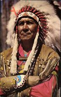 Canadian Indian Chief, Indianerhäuptling, Portrait, Vogelfedern, Lederjacke