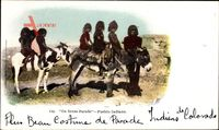 On Dress Parade, Pueblo Indians, New Mexico USA, Indianer, Kinder, Esel