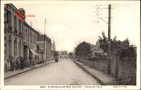 St. Mars la Briere Sarthe, Route de Paris, Straßenpartie im Ort