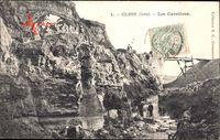 Clion Indre, Les Carrieres, Blick in den Steinbruch, Felsen