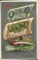 Geldschein Glückwunsch Neujahr, Segelschiff, Zwanzig Reichsmark