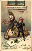 Glückwunsch Neujahr, Zwei Schornsteinfeger, Geldsack, Kleeblätter