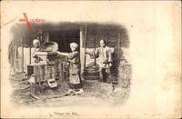 China, Triage du Riz, Reisbauern, Trennung der Körner von den Hüllen