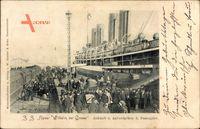 SS Kaiser Wilhelm der Große, Norddeutscher Lloyd Bremen, Ankuft, Passagiere
