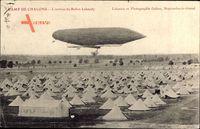 Camp de Chalons, LArrivée du Ballon Lebaudy, Zeppelin, Militärlager