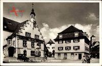Friedrichshafen am Bodensee, Rathaus und Zeppelinbrunnen, Giebel