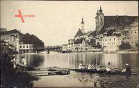 Steyr Oberösterreich, Flusspartie mit Ruderboot, Kirche, Brücke