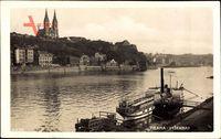 Praha Prag, Vysehrad, Dampfschiff an der Anlegestelle, Kirche, Fluss
