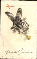 Glückwunsch Ostern, Osterhase mit einer Glocke um den Hals