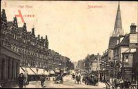 Streatham London City, High Road, Hauptstraße, Verkehr, Kirchturm
