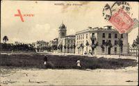 Bizerte Tunesien, Rue d'Athenes, Gebäude, Grube, Passanten, Bäume