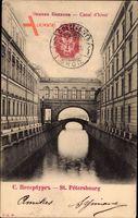 Sankt Petersburg Russland, Cana d'hiver, Kanalpartie im Ort, Brücke