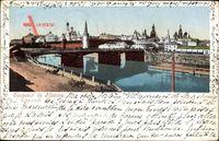 Moskau Russland, Flusspartie mit Brücke, Blick auf den Ort, Kreml