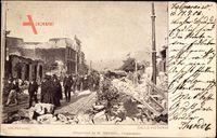 Valparaíso Chile, Calle Victoria, zerstörte Straßenpartie, Passanten