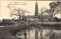 Tonkin Vietnam, Nam Dinh, Pagode consacree au culte du lingam