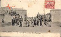 Bizerte Tunesien, Porte de lArsenal de Sidi Abdallah, Soldaten, Eingangstor