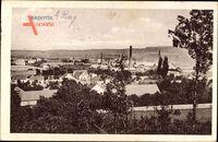 Radotin Praha Prag, Blick auf den Ort, Schornsteine, Häuser