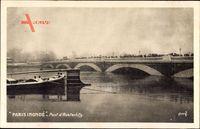 Paris, Pont dAusterlitz, Hochwasser, Inondé, Brücke, Liegendes Boot