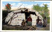 A Birch Bark Indian Home, Indianerzelt aus Birkenrinde