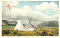 In Apache Land, New Mexico USA, On the Santa Fe, Indianerzelte, Tipis