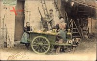Belgien, Laitière Flamande, Flämisches Milchmädchen, Zughund, Kinder