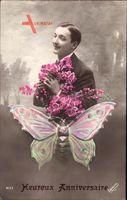 Glückwunsch, Heureux Anniversaire, Mann mit Blumen, Schmetterling