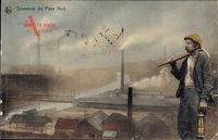 Souvenir du Pays Noir, Bergbau, Kohleindustrie, Bergmann mit Laterne