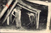 Dans la Mine, Nettoyage dune Taille, Bergbau unter Tage, Bergmänner
